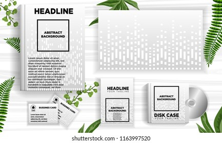 white dot line abstract background template ready for printing book cover, business card, disc album cover, flyer. vector illustration download file in eps10