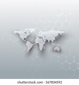 White dotted world map, connecting lines and dots on gray color background. Chemistry pattern, hexagonal molecule structure, medical research. Medicine, technology concept. Abstract design vector