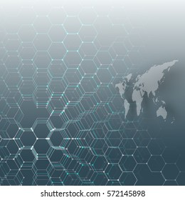 White dotted world map, connecting lines and dots on blue background. Chemistry pattern, hexagonal molecule structure, medical research. Medicine, technology concept. Abstract design vector.