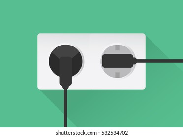 White double extension power strip in green background