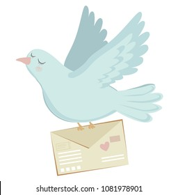 white dove delivers letter. cute cartoon dove flies vector illustration