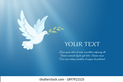 White dove flying against the blue sky. Hands are raised up and dove soaring in the rays of light. Dove is Christian religious symbol, symbol of peace and love. Vertical banner. Vector illustration