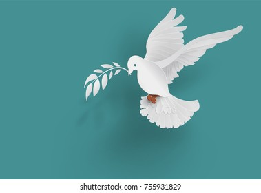 white dove holding  branch in flying on blue background for freedom concept ,international day of peace 2019 in paper cut style