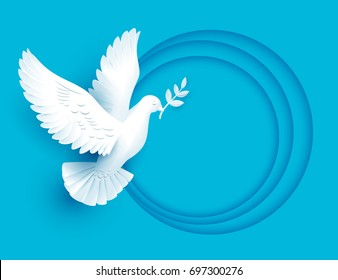 White dove holds twig symbol of peace. Vector illustration template greeting card