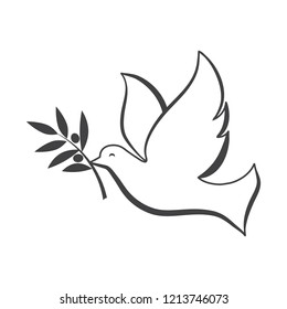 White dove with olive brunch vector illustration