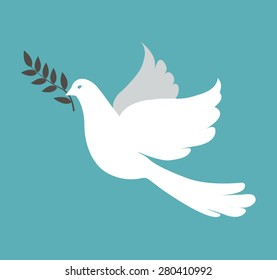 White dove on blue background, vector