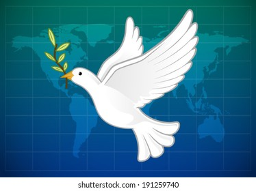 White dove of peace carrying olive branch on world map background vector illustration