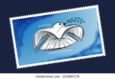 White dove postal envelope flies in the sky with a message. Pigeon mail concept of communication, symbol of postal correspondence. Postage stamp for letters and postcards. Logo of the delivery service