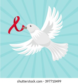 White dove with ribbon fly in the sky