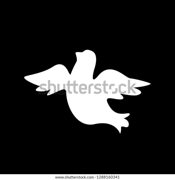 White Dove Silhouette Black Background Flying Stock Vector