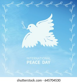 White Dove symbol of peace flies against the sky with clouds