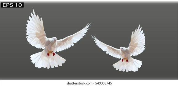 white doves on a gray background, Polygonal Mosaic Background, Vector illustration, Business Design Templates,Low Poly white doves flying