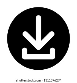 A white download icon on a black button isolated on a white background