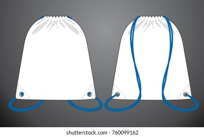 White drawstring bag vector with blue rope for template.Front and back views.