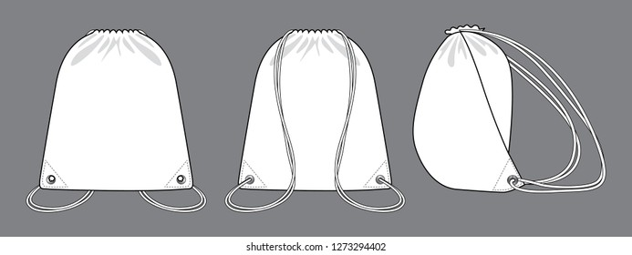 White Drawstring Bag Vector for Template.Front, Back and Side View