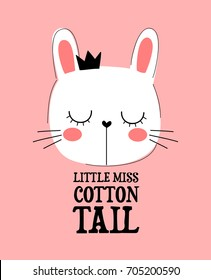 """White dreaming glamour beautiful bunny girl with a black crown on her head. childish hand drawn vector for t-shirts, mugs, wall art, baby shower, cards, phone case etc. text """"little miss cotton tail"""""""
