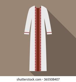 White dress with red folk decor.