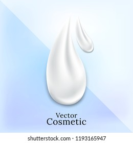 White drop for beauty concept. Realistic white  cream vector on blue background.