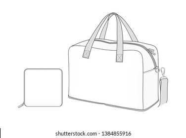 White Duffle Bag, foldable weekend bag, slip into suitcase as a spare bag, vector illustration sketch template