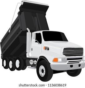 White Dump Truck vector illustration on white background isolated full editable