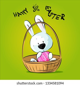 White Easter Bunny Hold Egg Sitting in Basket - Happy Easter Vector Illustration