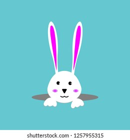 White easter rabbit. Easter Bunny.