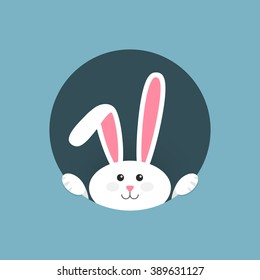 White easter rabbit. Easter Bunny. Vector illustration.