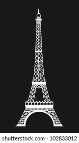 white eiffel tower over black background. vector illustration
