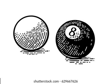 White and eight billiard balls with shadow. Vintage black engraving illustration for poster, web. Isolated on white background.