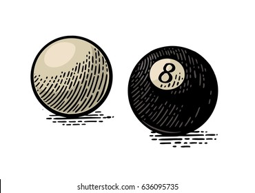 White and eight billiard balls with shadow. Vintage color engraving illustration for poster, web. Isolated on white background.