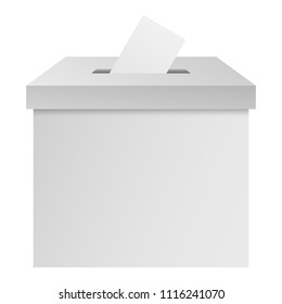 White election box ballot campaign mockup. Realistic illustration of white election box ballot campaign vector mockup for web design isolated on white background