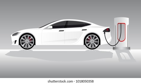 White electric car with charging station. Vector illustration EPS 10