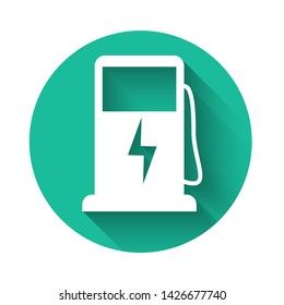 White Electric car charging station icon isolated with long shadow. Eco electric fuel pump sign. Green circle button. Vector Illustration
