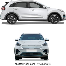 white electric car, side view, and frontal view