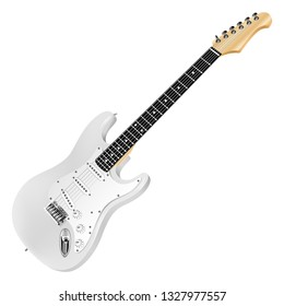 White electric guitar, classic. Realistic 3D image. Vector detailed illustration isolated on a white background.