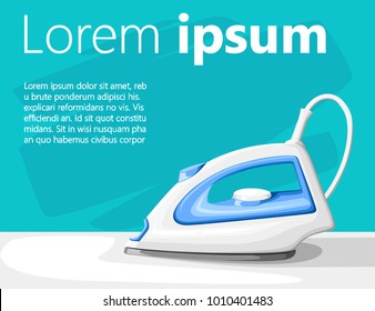 White electric steam iron on ironing board vector illustration on turquoise background with place for your text website page and mobile app design.