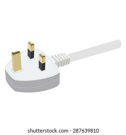 White electric uk socket vector illustration. Plug in. Plug icon