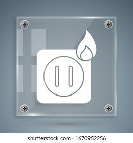 White Electric wiring of socket in fire icon isolated on grey background. Electrical safety concept. Plug outlet on fire. Square glass panels. Vector Illustration