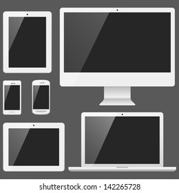 White Electronic Devices Set with blank black, shiny screens isolated on white background.  Devices include desktop computer, laptop, tablet and mobile phones.  Eps10 file with transparency.