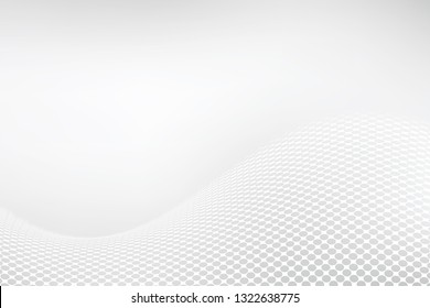 White elegant background. Abstract halftone wavy dotted backdrop design. Modern vector illustration.