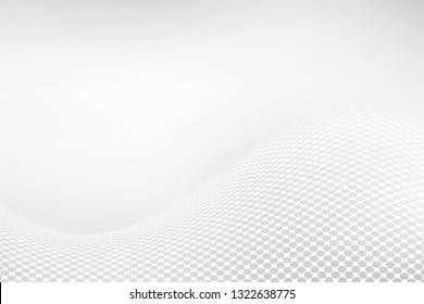 White elegant background. Abstract halftone wavy dotted backdrop design. Modern vector illustration.