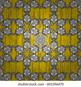 White element on yellow background. Vintage baroque floral pattern in ornamental over yellow. Luxury, royal and Victorian concept. Ornate vector decoration.