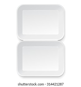 White Empty Blank Styrofoam Plastic Food Tray Container. Illustration Isolated On White Background. Mock Up Template Ready For Your Design. Vector EPS10