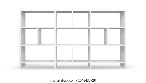 White empty bookcase template. Realistic isolated vector.