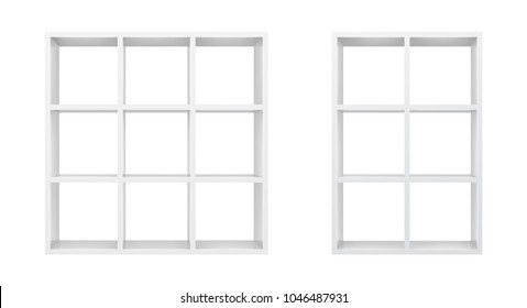 White empty bookshelf template. Realistic isolated vector.