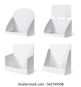 White empty box displays. Display on Isolated white background. Mock-up template. Vector