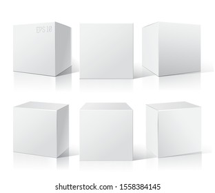 White empty box displays on Isolated white background. Three different positions. Product Packing Vector