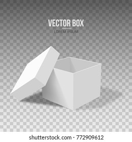 White empty box with an open lid on a transparent background. Vector illustration