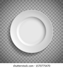White empty ceramic plate. Top view. Template isolated on a transparent background. Vector illustration.