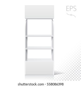 White Empty Displays With Shelves Products.Display on Isolated white background. Mock-up template. Retail Point of Purchase Design